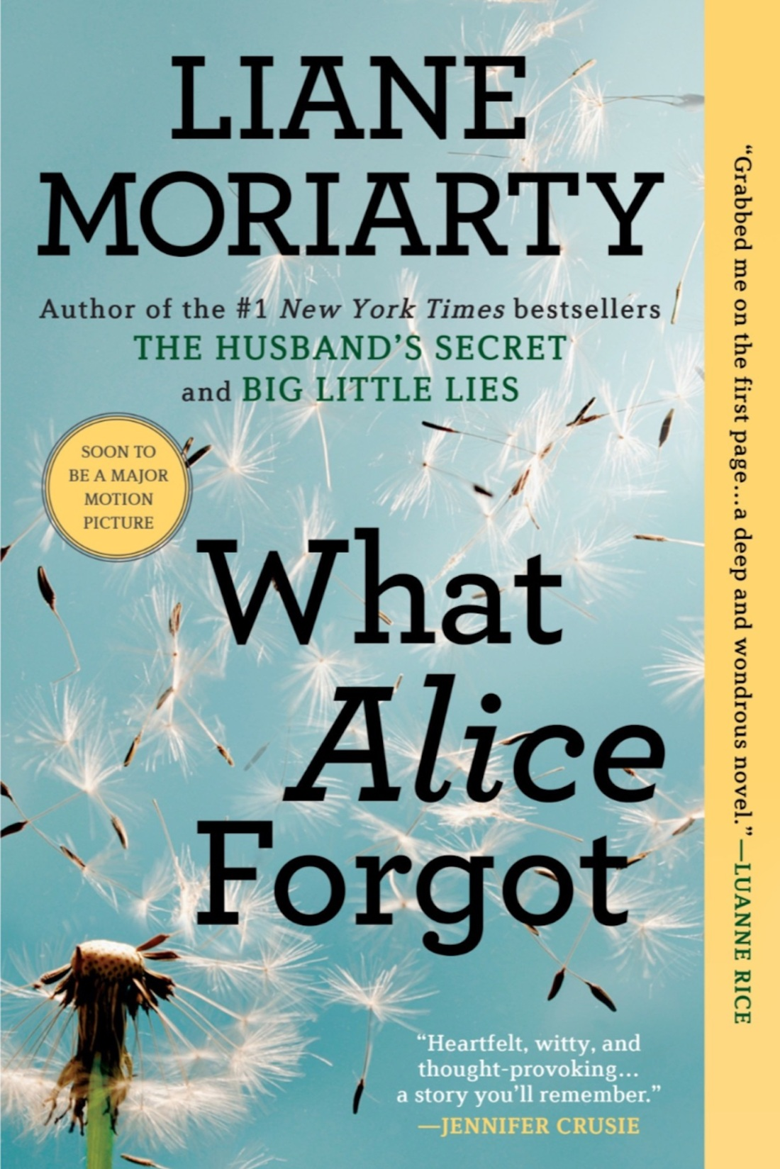 book cover to what alice forgot by liane moriarty